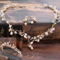 DIEZI Bridal Jewelry Crown Necklace and Earring Set Tiara Rhinestone Wedding Accessories Bridal Crystal Jewelry Sets