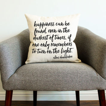 "Harry Potter Dumbledore Quote ""Happiness Can Be Found"" Pillow"