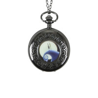 The Nightmare Before Christmas Jack & Sally Snow Hill Pocket Watch Necklace
