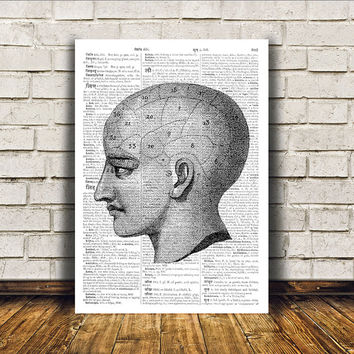 Gothic decor Head anatomy poster Medical print Macabre art RTA370
