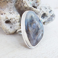 Dendritic regency plume agate sterling silver cocktail ring, pyrite inclusions, freeform semiprecious gemstone, artisan jewelry, size 6 1/4