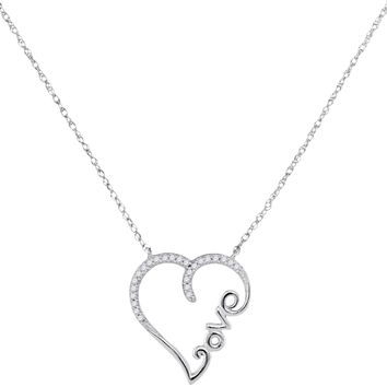10kt White Gold Womens Round Diamond Heart Love Pendant Necklace 1/12 Cttw