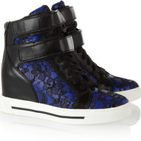 Marc by Marc Jacobs | Leather and lace wedge high-top sneakers  | NET-A-PORTER.COM