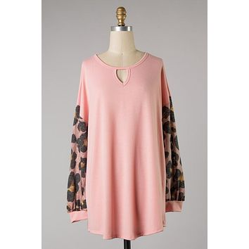 Pink Long Sleeve Top with Leopard Sleeves PLUS (1X-3X)