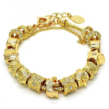 Gold Layered 03.63.1803.08 Fancy Bracelet, Elephant and Star Design, with White Crystal, Polished Finish, Golden Tone