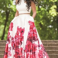 Two Piece Floral Print Dress by Jovani