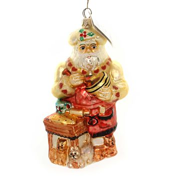 Christopher Radko KITTY CAKE BAKE Glass Santa Cooking Kitchen 983750 Cream