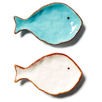 Asst. of 2 Dolomite Fish Plates, Decorative Plates