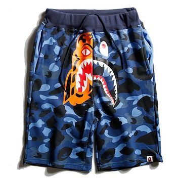 AAPE BAPE Popular Unisex Casual Camouflage Tiger Shark Mouth Joining Together Print Beach Shorts Blue I12589-1