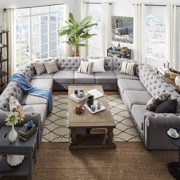 Knightsbridge Tufted Scroll Arm Chesterfield 11-seat U-shaped Sectional by SIGNAL HILLS | Overstock.com Shopping - The Best Deals on Sectional Sofas
