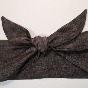 Dolly Headband, Tie-Up Hairband,  Dolly Bow, Charcoal 100% Linen - READY TO SHIP!