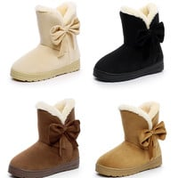 Womens Lovely Bow Winter Mid Boots
