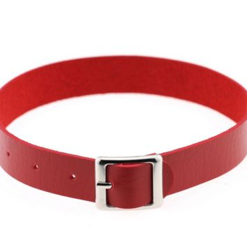 "11"" - 14"" red faux leather belt buckle choker adjustable necklace .75"" wide"