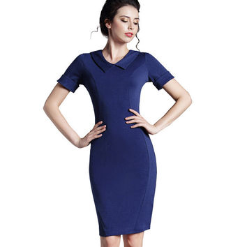 Nice-forever Ladylike Blue Female elegant Women Pencil Dress Special Turn-down Neck Solid Business Bodycon Vintage Dress 927