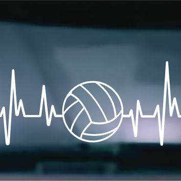 (2) TWO - Heartbeat Volleyball Vinyl Graphic Decal