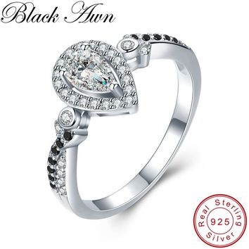 [BLACK AWN] Vintage 2.3g 925 Sterling Silver Fine Jewelry Bague Water Drop Black Spinel Engagement Rings for Women Bijoux C484