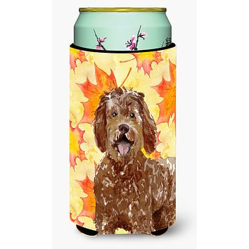 Fall Leaves Labradoodle Tall Boy Beverage Insulator Hugger CK1837TBC