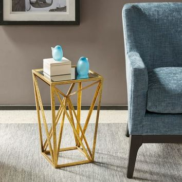Porch & Den Carytown Floyd Gold Angular Modern Accent Table | Overstock.com Shopping - The Best Deals on Coffee, Sofa & End Tables