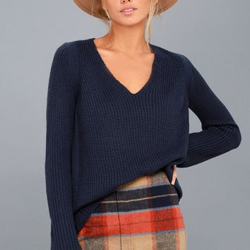 Cozy Cutie Navy Blue Knit V-Neck Sweater