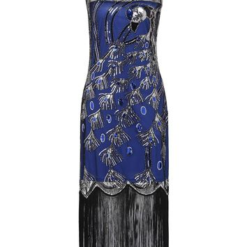1920s Peacock Flapper Gatsby Dress