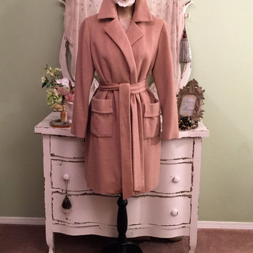 beige Cashmere Coat, Elegant Wrap Coat, Custom Made, Robe Style Coat, Wool Coats, Ornate Embroidered Champagne Silk Lining, Lovely!  M/L