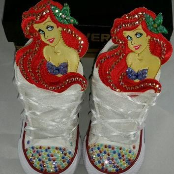 Girls Custom Converse- Little Mermaid- Minnie Mouse- Hello Kitty- Frozen- Dora- Doc Mc
