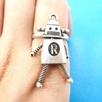 Cute Miniature Robot Shaped Adjustable Ring in Silver | DOTOLY