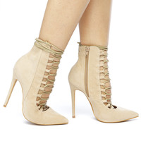 RUMI LACE UP BOOTIE - NUDE