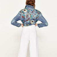 CROPPED JACKET WITH EMBROIDERY DETAILS