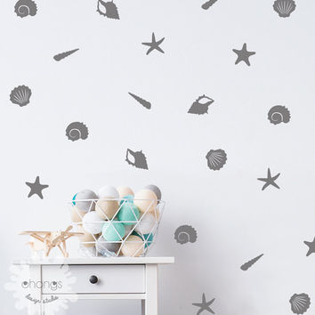 Sea Shells Wall Decal / Starfish Wall Decal / Sea Shell Sticker / Home Decoration