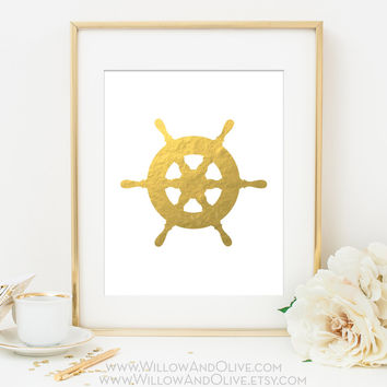 NAUTICAL SHIPS STEERING WHEEL Faux Gold Foil Art Print