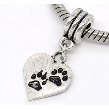 Love Heart Dog Paw Dangle Charm Bead