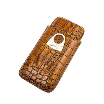 COHIBA Cigar Case Holder genuine leather brown cigar cigarette travel cigar humidor include a cigar cutter  can hold 3 cigarette