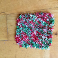 Hand Knit Red White and Green Variegated Scrubby