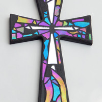 "Mosaic Wall Cross, Black with Iridescent + Textured Glass + Silver Mirror,  Handmade Stained Glass Mosaic Design, 12"" x  8"""