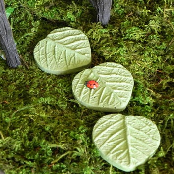 3 Fairy Garden Miniature Leaf Stepping Stones painted cement with lady bug