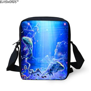ELVISWORDS Original Students School Bags Vintage Lady Girls Book Bags Marine Organism Printed Kids Small Shoulder Messenger Bag