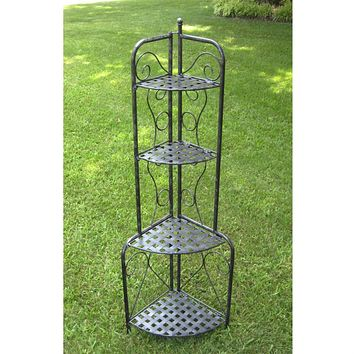 Indoor / Outdoor Folding Corner Bakers Rack 4-Shelf Lattice Plant Stand