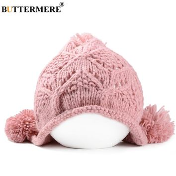 BUTTERMERE Brand Pink Pom Pom Beanie Women Worm Fashionable Crochet And Knit Hats With Ears Winter Kawaii Hats And Caps Bonnet