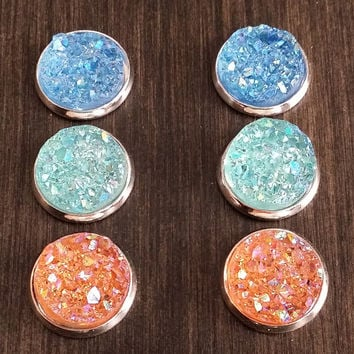 Druzy earring set-  Sandy beach drusy stud set - druzy earrings