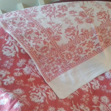 Antique Red Damask Turkey Cloth Victorian Tablecloth Coverlet Wall Hanging Double Sided Oblong