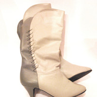cool light grey and gray vintage leather boots