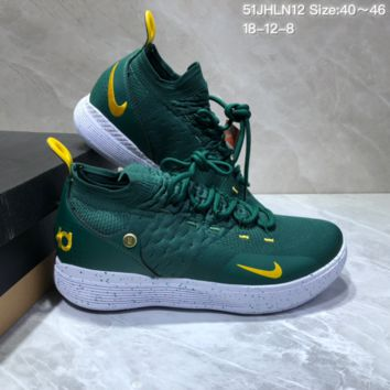 HCXX N682 Nike Zoom KD11 Mid XI Men Actual Baketball Shoes Green Gold