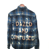"Led Zeppelin Shirt ""Dazed and Confused"" in Blue Plaid Flannel"