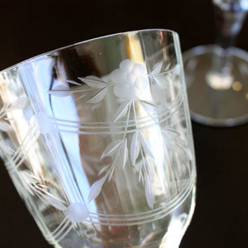 pair of etched fine crystal fluted wine glasses // vintage toasting stemware // vintage wedding // bride and groom // special occasion