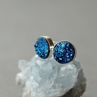 $65.00 Electric Blue Bold Druzy Stud Earrings by ShopClementine on Etsy