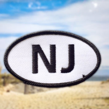 "New Jersey NJ Patch - Iron or Sew On - 2"" x 3.5"" - Embroidered Oval Applique - Garden State - Black White - Hat Bag Accessory - Handmade USA"