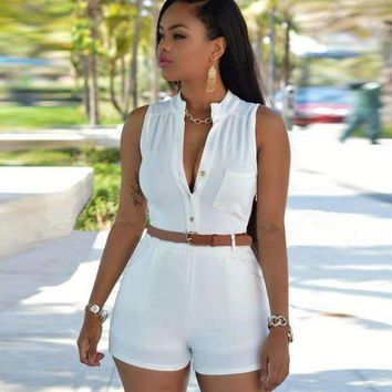 VONE05F8 2018 New Women High waist deep v-neck Casual Sleeveless bodycon Ladies Short Pants Overalls Belt plus size tunic solid playsuits