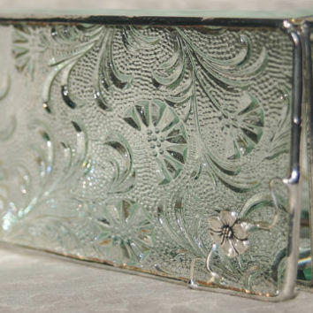 Stained Glass Jewelry Box Clear Florielle 3x6 Box by GaleazGlass