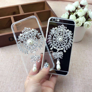 Cute Stylish Hot Deal Iphone 6/6s On Sale Mirror Lovely Pendant Iphone Transparent Silicone Phone Case [9078301444]